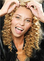 Sparkling Medium Curly Blonde African American Lace Wigs for Women