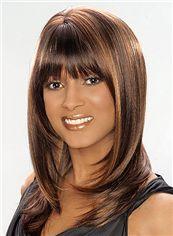 Fashion Medium Wavy Brown African American Wigs for Women