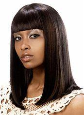 Hot Medium Straight Black African American Wigs for Women