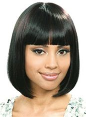 Mysterious Short Straight Black African American Wigs for Women