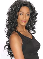 Custom Super Charming Long 24 Inch Wavy Black African American Lace Wigs for Women