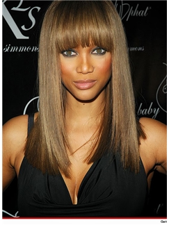 Fancy Medium Straight Brown African American Wigs for Women