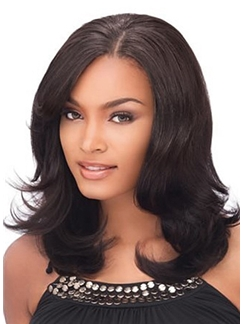 Pretty Medium Wavy Brown African American Lace Wigs for Women