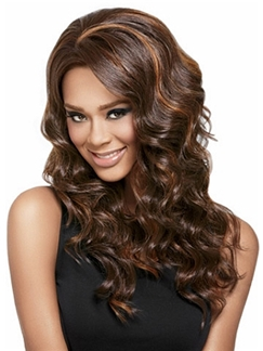 Grand Long Wavy Brown African American Lace Wigs for Women