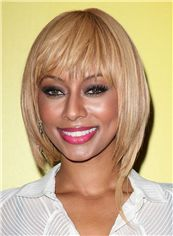 Concise Medium Straight Blonde African American Wigs for Women