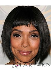 Shining Short Straight Black African American Wigs for Women