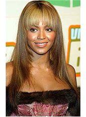 Human Hair Brown Long Capless Wigs 20 Inch