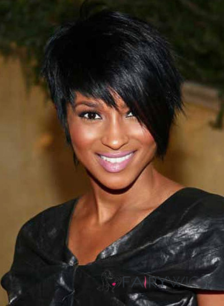 New Fashion Short Straight Black African American Wigs for Women 10 Inch