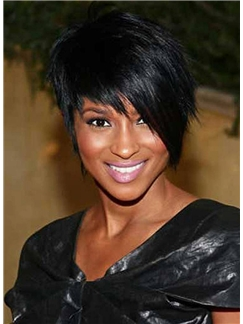 New Fashion Short Straight Black African American Wigs for Women 10