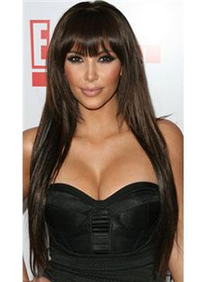 Online Long 24 Inch Straight Brown African American Wigs for Women