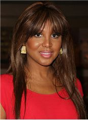 Sparkling Long Straight Brown African American Wigs for Women