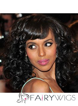 Unique Medium Wavy Black African American Wigs for Women