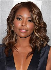 Fashionable Medium Wavy Brown African American Lace Wigs for Women