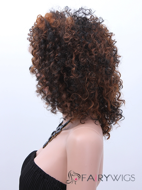 Custom Super Charming Short Curly Brown African American Wigs for Women