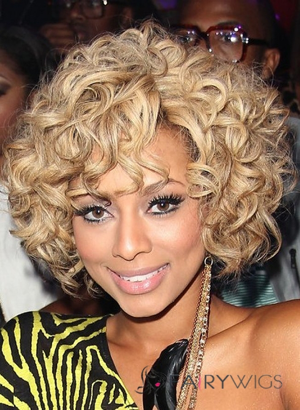 Popurlar Short Wavy Blonde African American Lace Wigs for Women