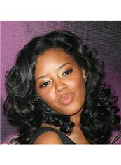 Trendy Medium Wavy Black African American Lace Wigs for Women