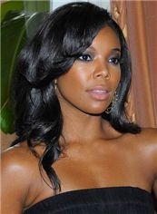 Natural Medium Wavy Sepia African American Lace Wigs for Women