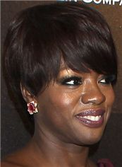 Exquisite Short Straight Sepia African American Wigs for Women 8 Inch