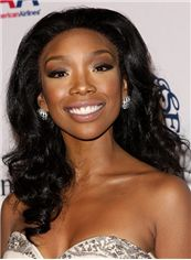 New Glamourous Medium Wavy Black African American Lace Wigs for Women