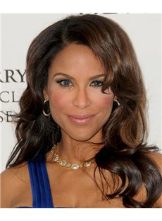 Impressive Long Wavy Brown African American Lace Wigs for Women