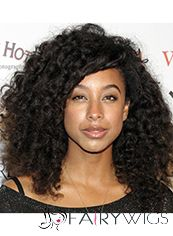 New Style Medium Curly Sepia African American Lace Wigs for Women
