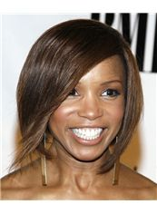 Shinning Short Straight Brown African American Lace Wigs for Women