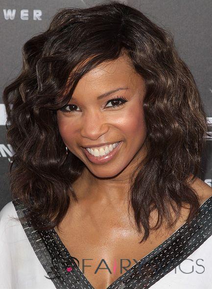 Sparkling Medium Wavy Sepia African American Capless Wigs for Women