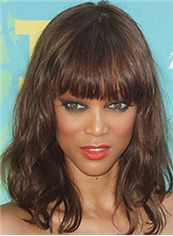 Ingenious Medium Wavy Brown African American Wigs for Women