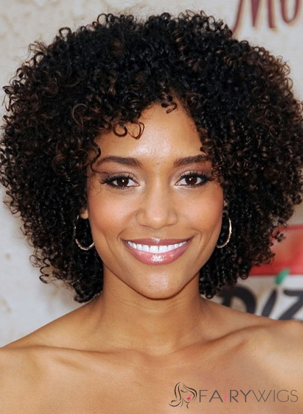 Dainty Short Curly Sepia African American Lace Wigs for Women
