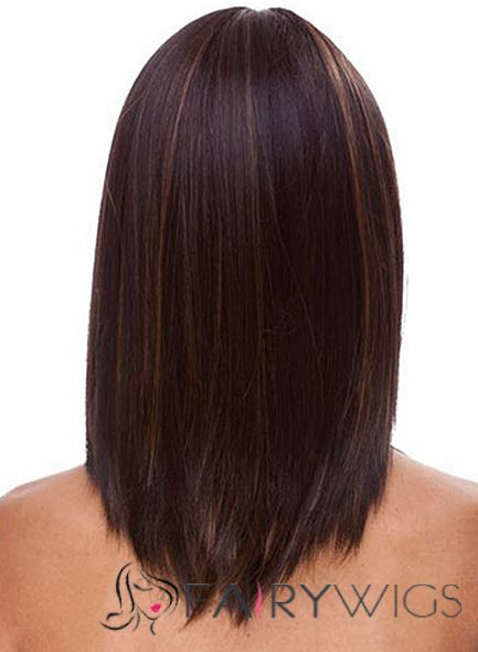 Cheap Medium Straight Brown African American Wigs For