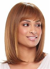 Pretty Medium Straight Blonde African American Wigs for Women