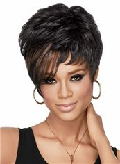 Concise Short Wavy Sepia African American Lace Wigs for Women 8 Inch