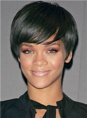 Lustrous Short Straight Black African American Wigs for Women 8 Inch