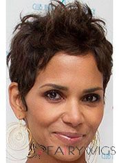Amazing Short Wavy Brown African American Lace Wigs for Women 6 Inch