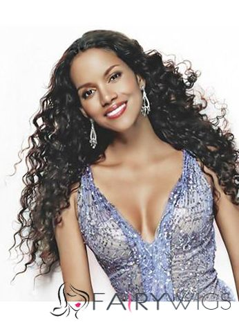 Chic Long Curly Sepia African American Lace Wigs for Women