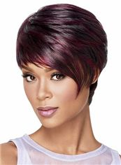 Wholesale Short Straight Red African American Lace Wigs for Women 8