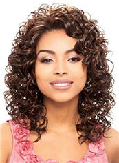 Cheap Colored Medium Wavy Brown African American Lace Wigs for Women