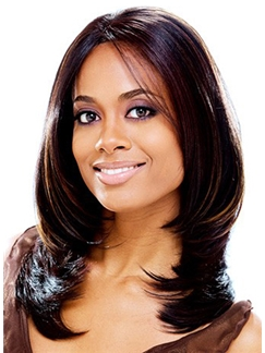 Sparkle Medium Wavy Sepia No Bang African American Lace Wigs for Women 16 Inch
