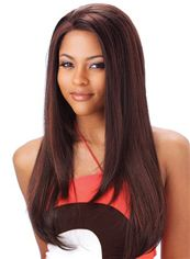 Glitter Long Straight Brown No Bang African American Lace Wigs for