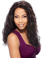 Sweety Long Wavy Black No Bang African American Lace Wigs for Women 20 Inch