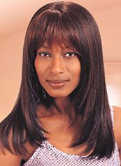 Shinning Medium Straight Brown Full Bang African American Wigs for
