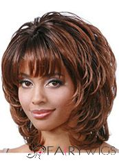 Sketchy Short Wavy Brown Side Bang African American Wigs for Women 12 Inch
