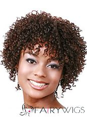 Adjustable Short Curly Red Full Bang African American Wigs for Women 10 Inch