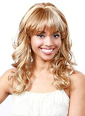 Ingenious Medium Wavy Blonde Full Bang African American Wigs for