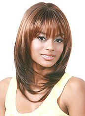 Unique Medium Wavy Brown Full Bang African American Wigs for Women 16