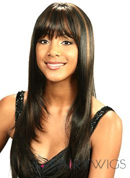Dainty Long Straight Black Full Bang African American Wigs for Women 20 Inch