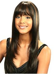 Dainty Long Straight Black Full Bang African American Wigs for Women