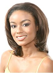 Trendy Medium Wavy Brown No Bang African American Lace Wigs for Women 14 Inch