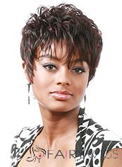 Exquisite Short Wavy Brown Side Bang African American Wigs for Women 6 Inch