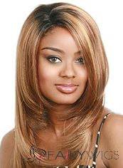Fantastic Medium Wavy Brown No Bang African American Lace Wigs for Women 18 Inch